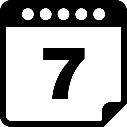 Страница календаря на 7 день  бесплатно иконка