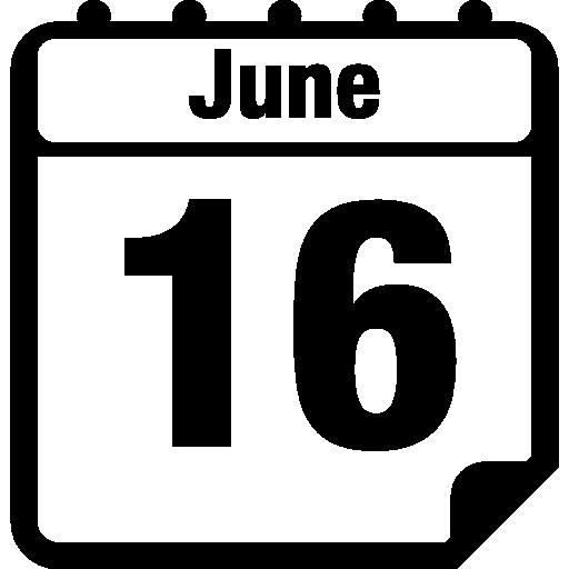 página do calendário diário de 16 de junho  grátis ícone