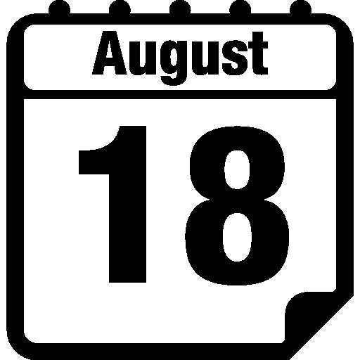 símbolo de interface da página do calendário diário de 18 de agosto  grátis ícone