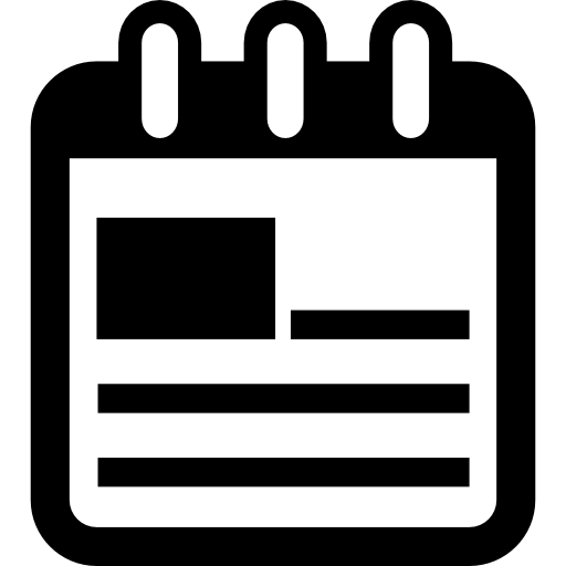 Calendar interface symbol with printed image and text lines - Free interface icons