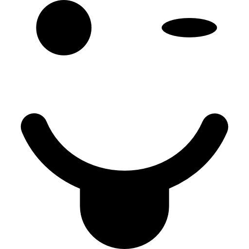 Winking emoticon with tongue out of mouth and square face shape  free icon