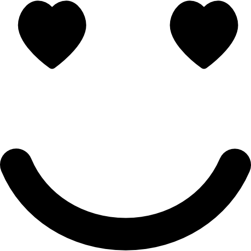 Emoticon in love face with heart shaped eyes in square outline  free icon
