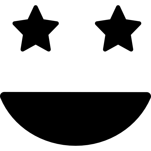 Smiling happy emoticon square face with eyes like stars  free icon
