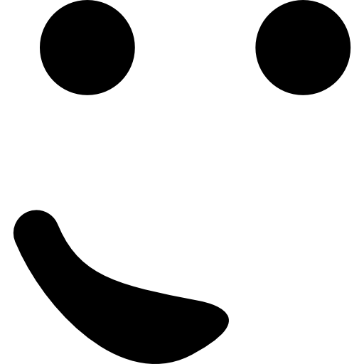 Emoticon face with the mouth at one side like a small smile in a rounded square  free icon