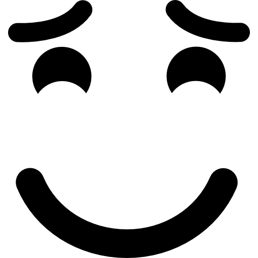 Smiling emoticon with raised eyebrows and closed eyes  free icon