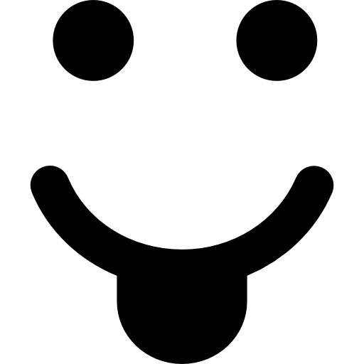 Smiley with tongue in a square shape  free icon