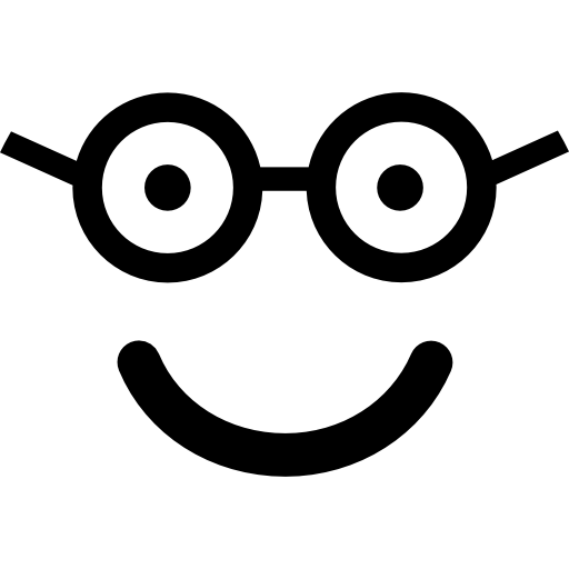 Nerd happy smiling face in rounded square face  free icon