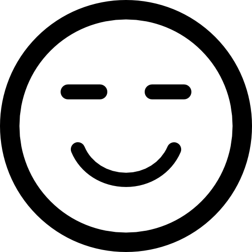 Smiling emoticon square face with closed eyes  free icon