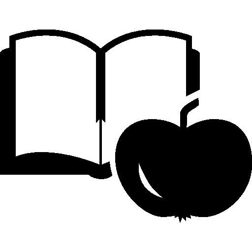 livre éducatif et pomme pour l'enseignant  Icône gratuit