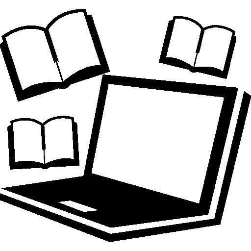 도구를 공부하는 컴퓨터와 책  무료 아이콘