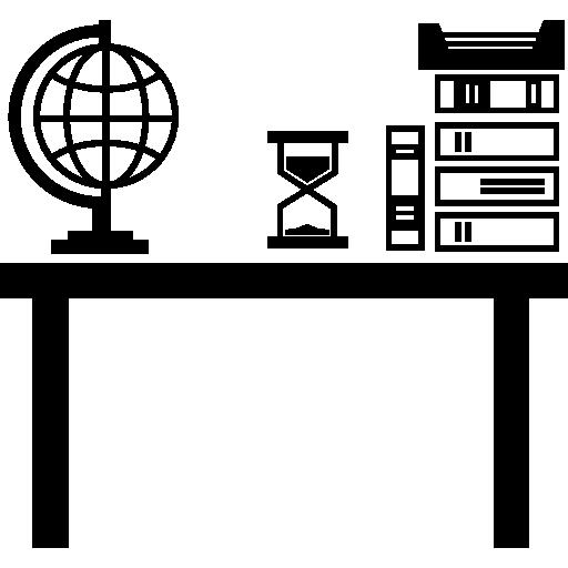 Área de trabalho da aula do professor com pilha de livros, globo terrestre e relógio de areia  grátis ícone