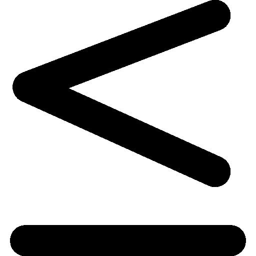 Меньше или равно математическому символу  бесплатно иконка