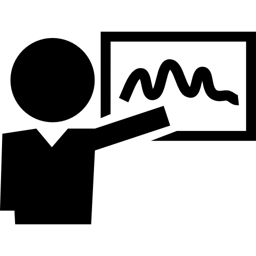 Teacher showing curve line on whiteboard  free icon