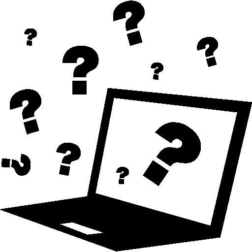 Викторина на компьютере со знаками вопроса вокруг  бесплатно иконка