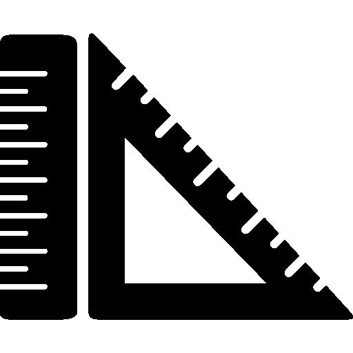 Линейка и квадратные измерительные инструменты  бесплатно иконка