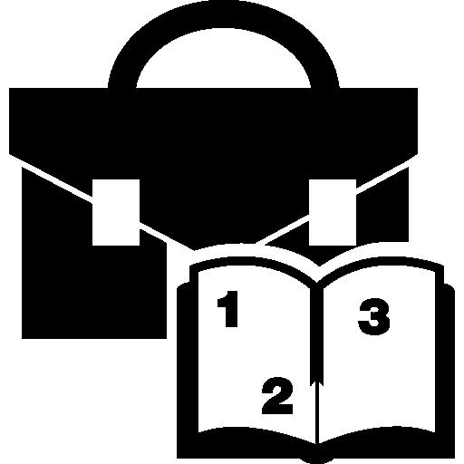 livre éducatif avec des chiffres et une mallette  Icône gratuit