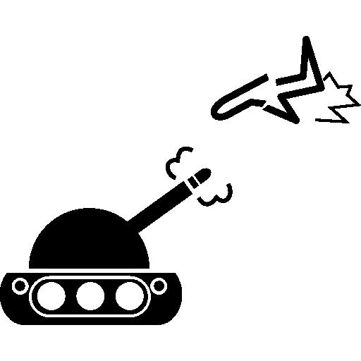 tanque de guerra contra um avião  grátis ícone
