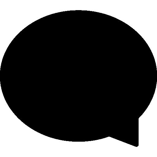 Oval black speech bubble  free icon