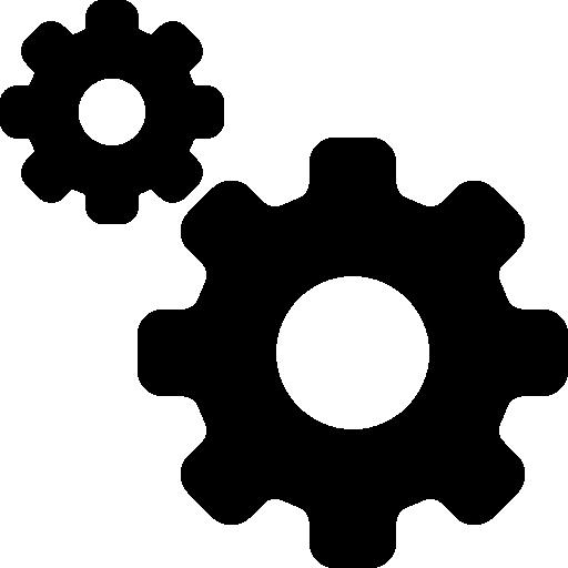Символ интерфейса конфигурации с двумя зубчатыми колесами  бесплатно иконка