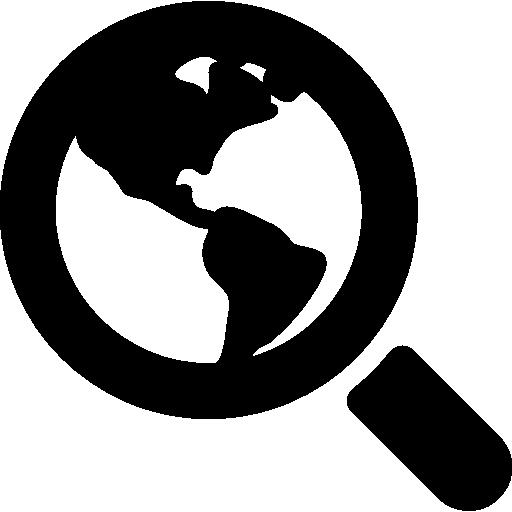Символ интерфейса поиска мира Земли под лупой  бесплатно иконка