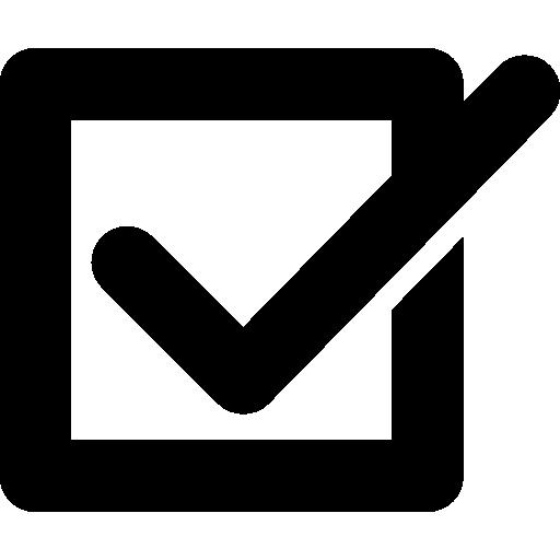 quadrado com sinal de verificação  grátis ícone