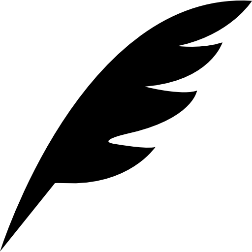 Pen feather black diagonal shape of a bird wing  free icon