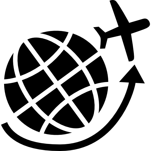 Airplane flying around Earth grid  free icon