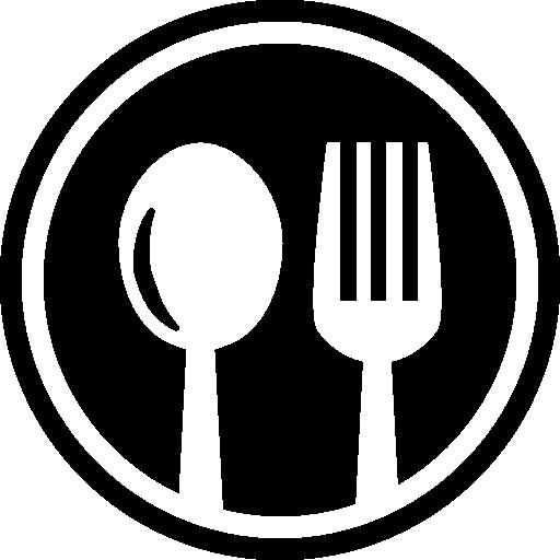 cubiertos de restaurante símbolo circular de una cuchara y un tenedor en un círculo  icono gratis