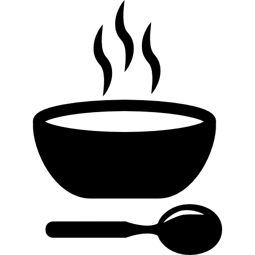 Soup hot bowl with spoon  free icon