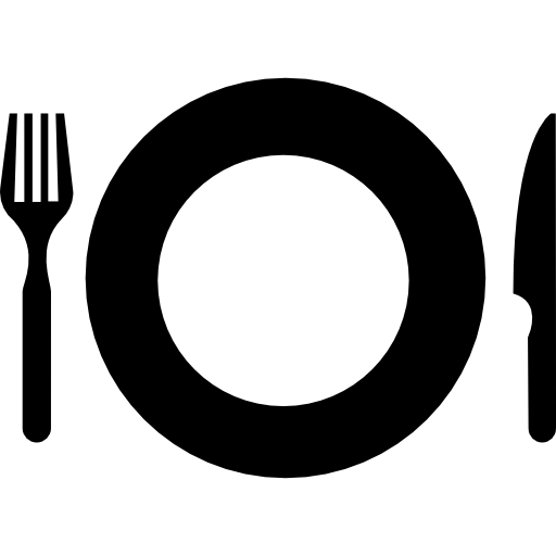 Plate with fork and knife eating set tools from top view  free icon