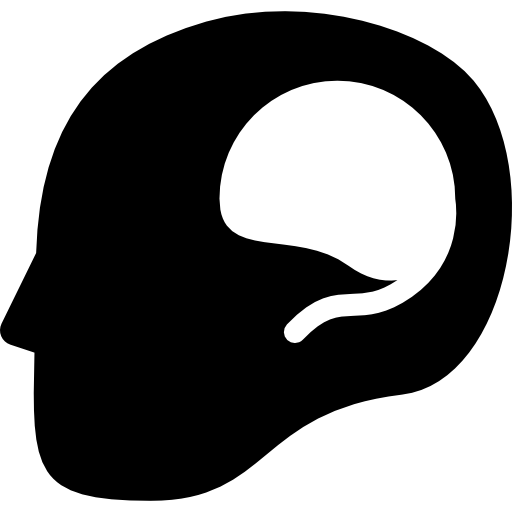 Think symbol of a head from side view with brain shape inside  free icon