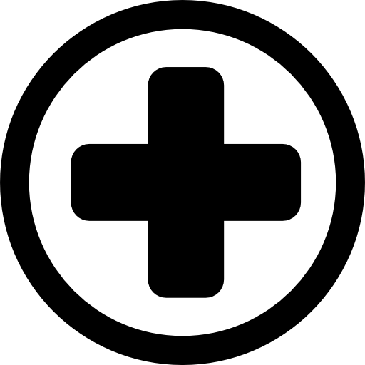 Hospital medical signal of a cross in a circle  free icon