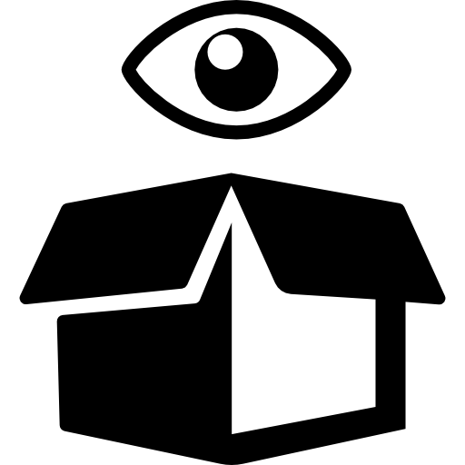 View symbol on delivery opened box  free icon