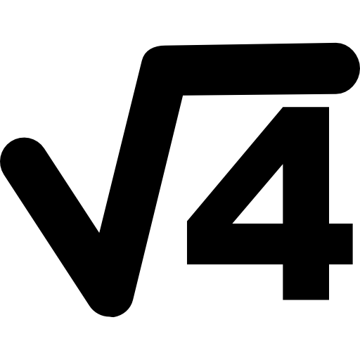 Science or maths symbol of root of number four  free icon