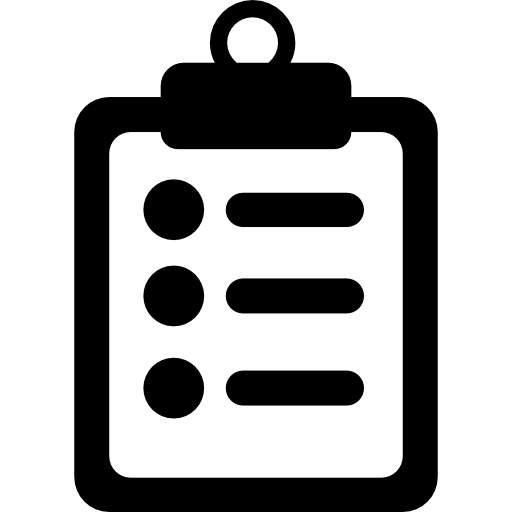 Medical notes symbol of a list paper on a clipboard  free icon
