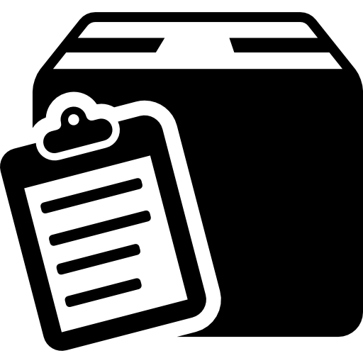 Commercial delivery symbol of a list on clipboard on a box package  free icon