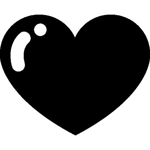 Heart black shape  free icon