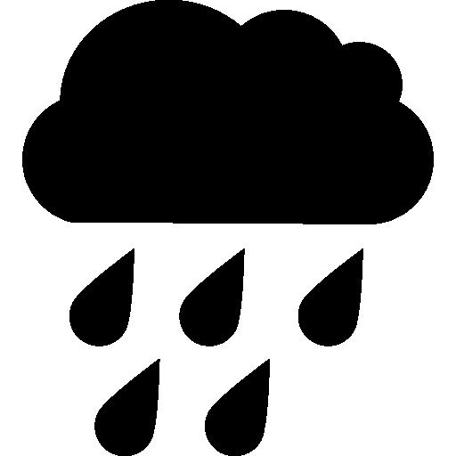 Капли дождя падают из черного облака  бесплатно иконка