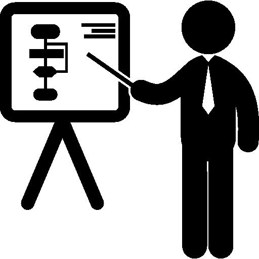 homme d'affaires dans une présentation pointant un tableau avec des graphiques  Icône gratuit