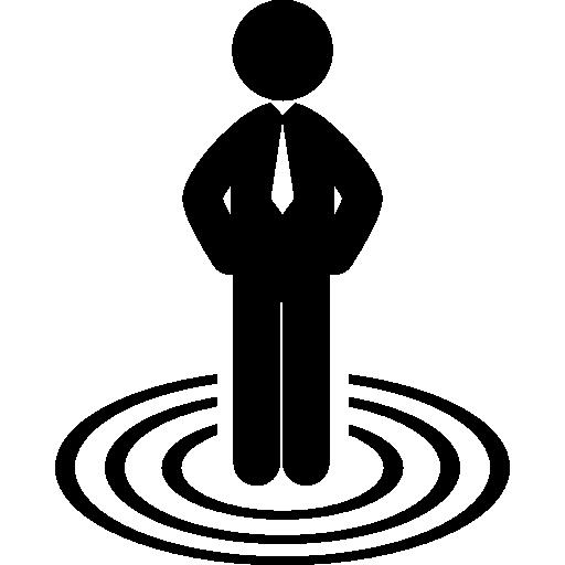 homme d'affaires debout sur des cercles concentriques cible entreprise  Icône gratuit