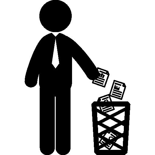 homme d'affaires jetant des papiers  Icône gratuit
