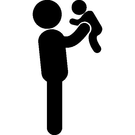 그의 아기를 드는 아버지  무료 아이콘