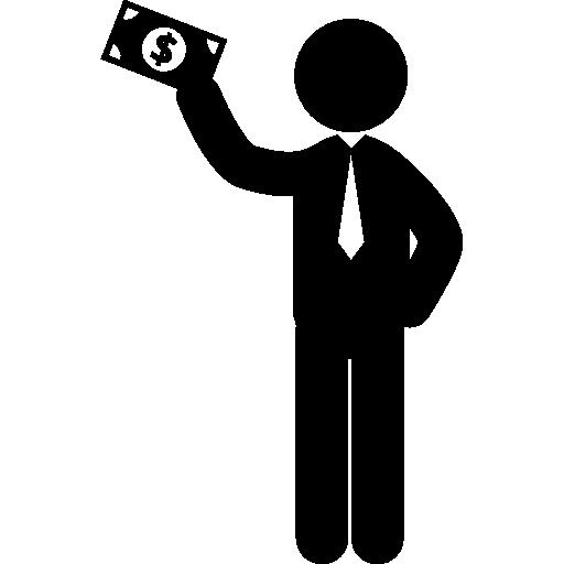 homme debout tenant un projet de loi dans sa main droite levée  Icône gratuit