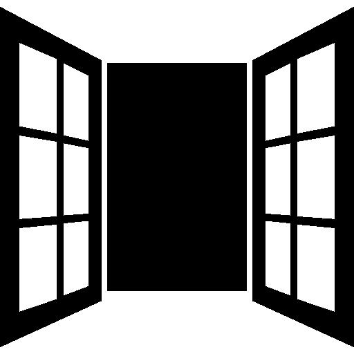 porte fenêtre ouverte de verres  Icône gratuit