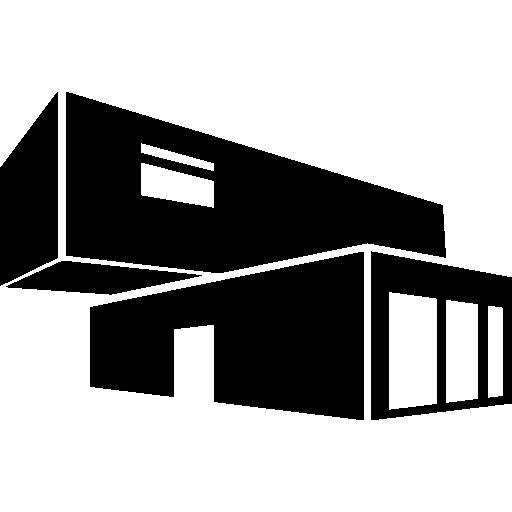 Здание экономической архитектуры из штабелированных контейнеров  бесплатно иконка
