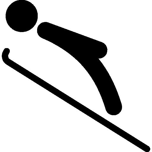silhouette de squelette de glace d'un homme couché pratiquant le sport d'hiver  Icône gratuit
