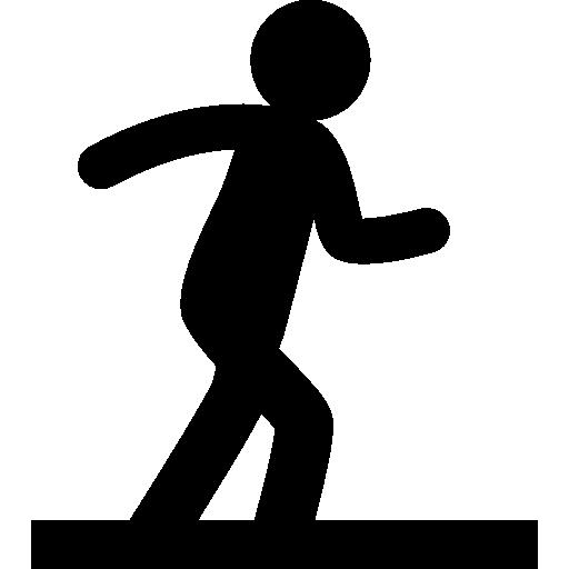 silueta de persona en posición de caminar sobre un piso  icono gratis