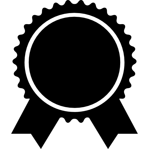 Award badge of circular shape with ribbon tails  free icon