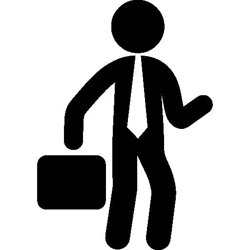 homme d'affaires avec une valise  Icône gratuit