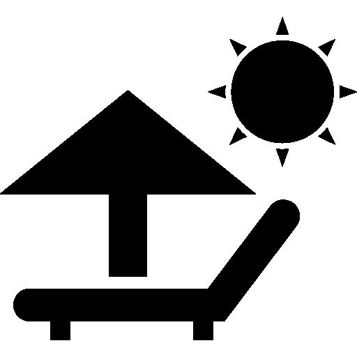 parasol et chaise longue sous le soleil d'été  Icône gratuit